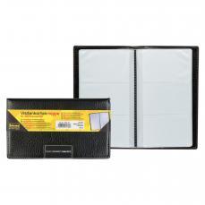 Idena Visitenkartenmappe schwarz 10 x 7 cm 40 Karten für ca