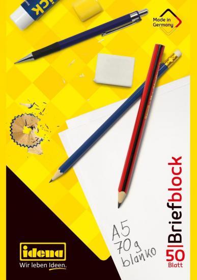 Briefblock, DIN A5, FSC® Mix, 50 Blatt, 70 g, blanko, kopfgeleimt