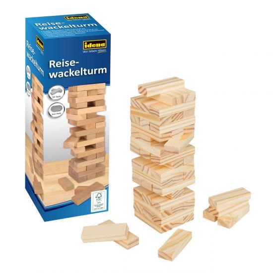 Reise-Wackelturm, 4,8 x 4,8 x 14,4 cm, aus Holz