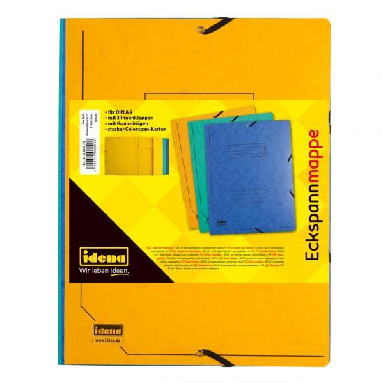 Eckspann-Mappen, DIN A4, aus Karton, 3 Stück/3 Farben