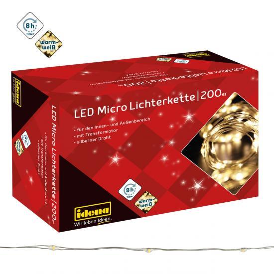 200er LED Micro Lichterkette, warmweiß, für innen & außen, mit Timer
