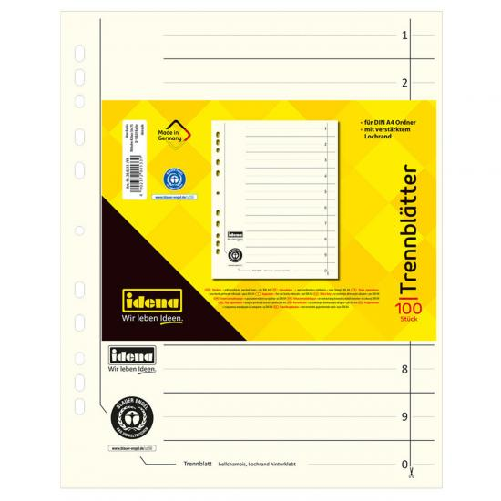 Trennblätter, 100 Stück, DIN A4, aus Karton, 190 g/m²
