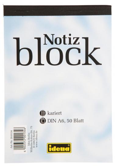 Notizblock, DIN A6, 50 Blatt, 70 g/m², kariert, kopfgeleimt
