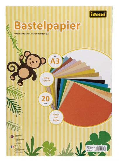 Bastelpapier, DIN A3, 20 Blatt, Karton und Papier, farbig sortiert