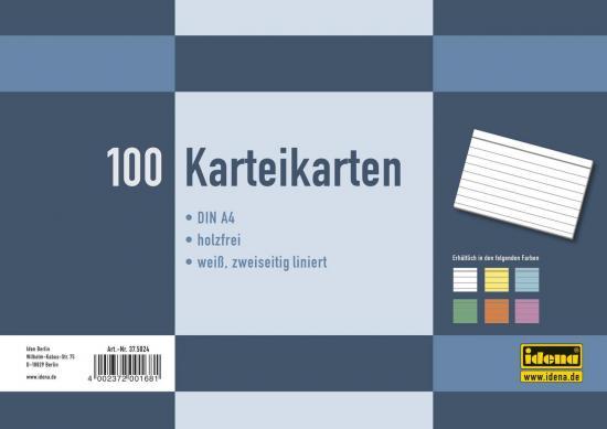 Karteikarten, DIN A4, 100 Stück, 180 g, liniert, holzfrei, weiß