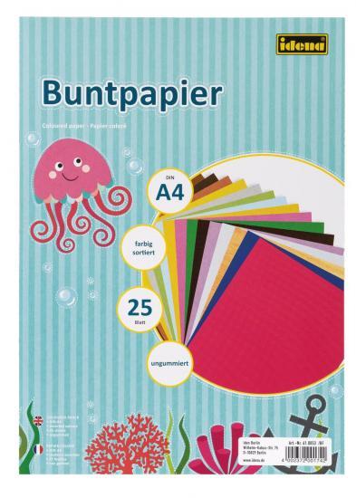 Buntpapier, DIN A4, 25 Blatt, ungummiert, farbig sortiert