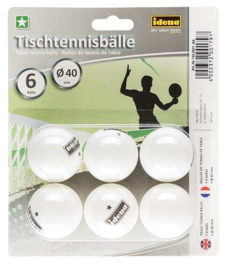 Tischtennisbälle, 6er-Set, 1 Stern, weiß