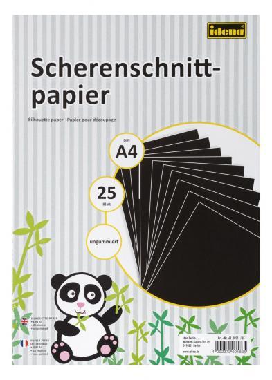 Scherenschnittpapier, DIN A4, 25 Blatt, ungummiert, schwarz