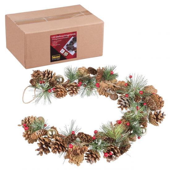 Weihnachtsgirlande mit 10er LED Lichterkette, warmweiß, für innen, batteriebetrieben, mit Timer