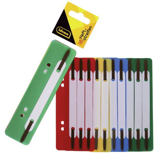 Heftstreifen, 10 Stück, 4 Farben, Kunststoff