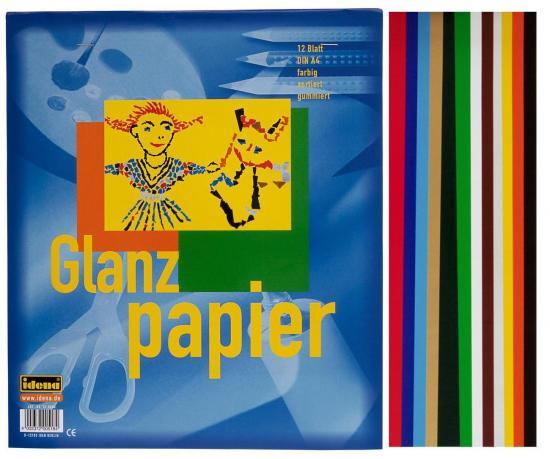 Glanzpapier, DIN A4, 12 Blatt, gummiert, farbig sortiert