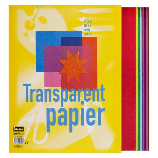 Transparentpapier, DIN A4, 10 Blatt, farbig sortiert