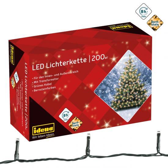 200er LED-Lichterkette, bernsteinfarben, für innen & außen, mit Timer