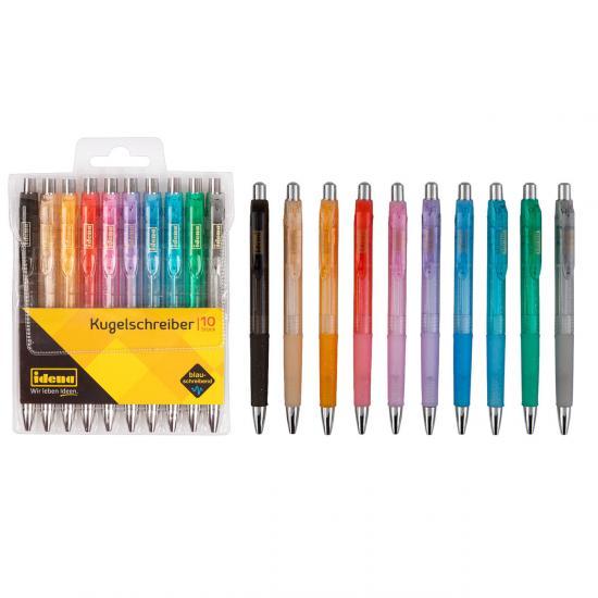 Kugelschreiber, 10 Stück, blauschreibend, transluzente Farben