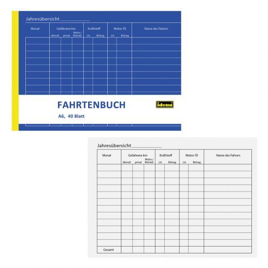 Fahrtenbuch, DIN A6, 40 Blatt, für 312 Fahrten