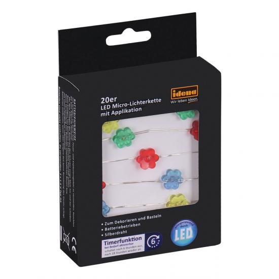 """20er LED Micro-Lichterkette """"Flower"""", für innen, batterieb., silberner Draht, Timer"""