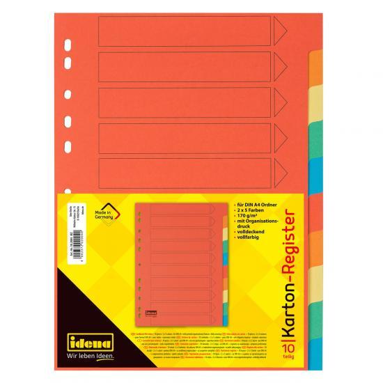 Register, 10-teilig, DIN A4, aus Karton, 170 g/m²