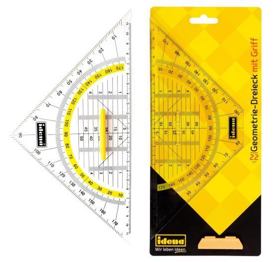 Geometrie-Dreieck, mit Griff, 22 cm, transparent