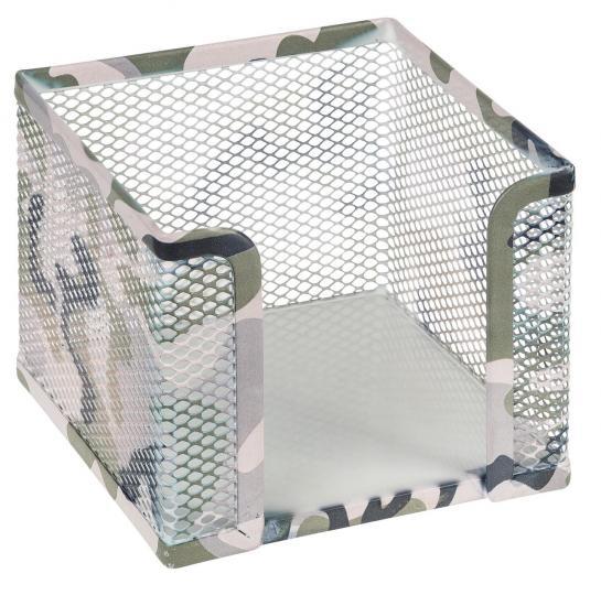 Zettelkasten Camouflage, aus Metall, 10 x 10 x 8 cm
