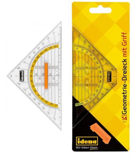 Geometrie-Dreieck, mit Griff, 14 cm, transparent