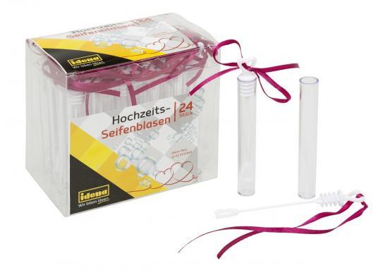 Hochzeits- Seifenblasen, ca. 10 cm, 4,5 ml, Stick mit Herz & Schleife, 24 Stück