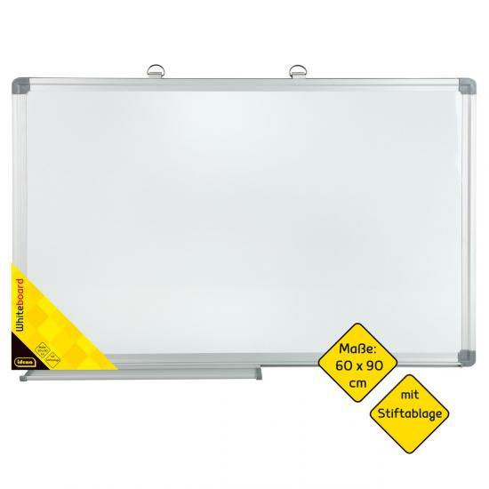 Whiteboard, 60 x 90 cm, mit Alu-Rahmen und Stiftablage