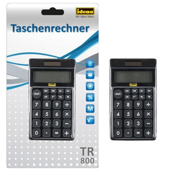 Taschenrechner TR 800, 8-stelliges Display, Solar- und Batteriebetrieb, schwarz