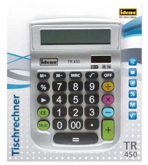 Tischrechner TR 450, 12-stelliges Display, Solar- und Batteriebetrieb, silber