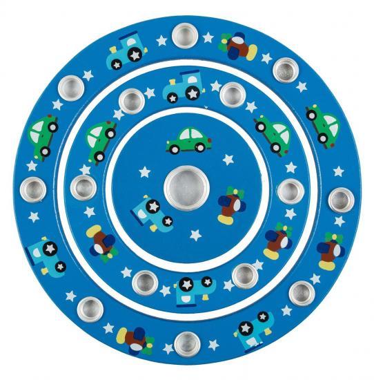 Geburtstagsring, 18,5 cm Durchmesser, Holz, blau