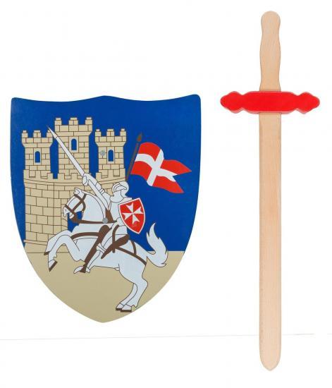 """Ritter-Spielset """"Kreuzritter"""", Schwert und Schild, aus Holz"""