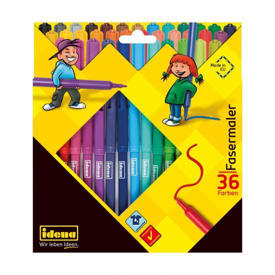 Fasermaler, 36 Farben, 2 mm Spitze, farbintensiv