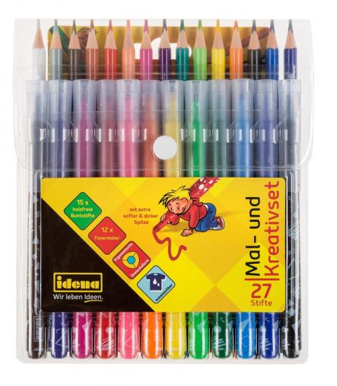 Mal- und Kreativset, 27 Stifte, Buntstifte und Fasermaler