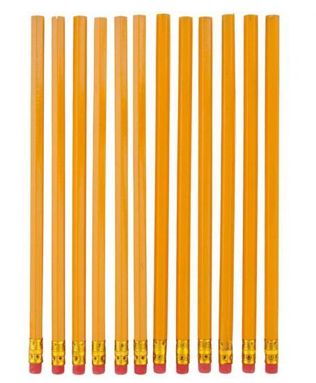 Bleistifte, 12 Stück, Härtegrad HB, mit Radiertip