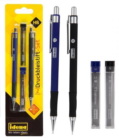 Druckbleistift-Set, 2 Stifte, 0,5 mm und 0,7 mm, mit Ersatzminen