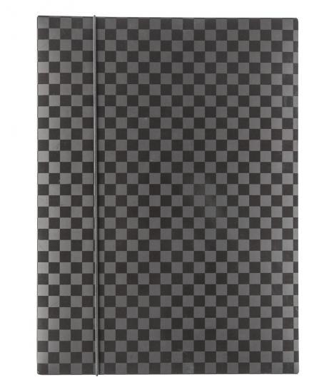 Gummizugmappe, DIN A4, FSC® Mix,  schwarz/grau