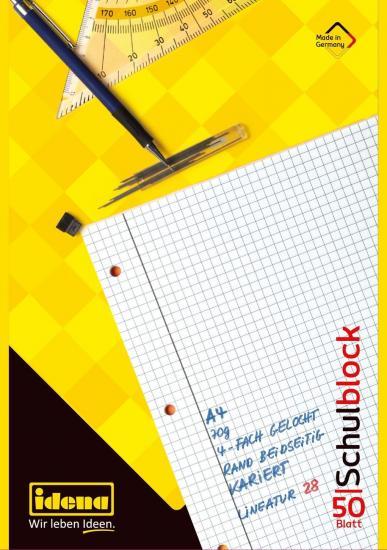 Schulblock, DIN A4, FSC® Mix, 50 Blatt, 70 g/m², kariert, gelocht
