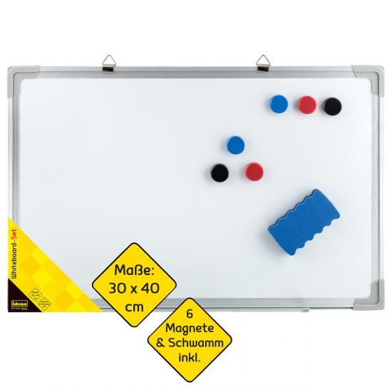 Whiteboard Set, 30 x 40 cm, mit 6 Magneten & Schwamm