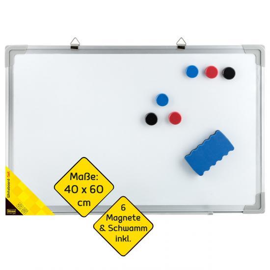 Whiteboard Set, 40 x 60 cm, mit 6 Magneten & Schwamm