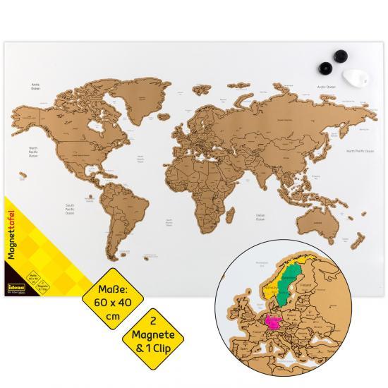 """Magnettafel """"Weltkarte"""" zum Beschriften & Freirubbeln, 60 x 40 cm, mit Zubehör"""