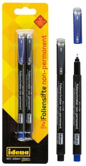 Folienstifte non-permanent, 2 Stück, schwarz und blau, Strichstärke 0,8 mm