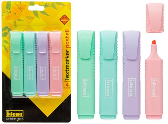 Textmarker Pastell, 4 Stück, Strichstärke 1 mm - 5 mm