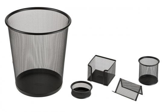 Büro-Set, 5-teilig, aus Metall, schwarz