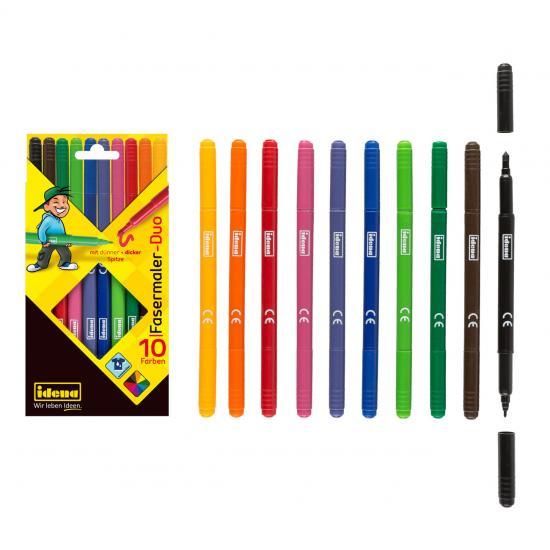 Fasermaler-Duo, 10 Farben, 2 Malspitzen, farbintensiv
