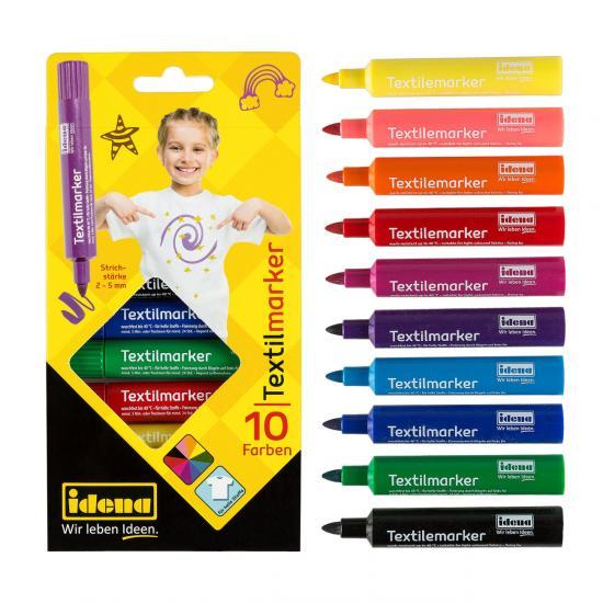 Textilmarker, 10 Farben, Strichstärke 2-5 mm, für helle Stoffe