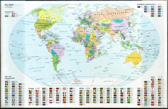 """Schreibunterlage """"Weltkarte"""", 68 x 44 cm, mit Einstecktaschen"""