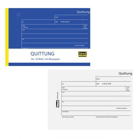 Quittungsblock, DIN A6, 50 Blatt, mit Blaupapier, inkl. MwSt.