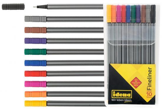 Fineliner, 10 Stück/10 Farben, Strichstärke 0,4 mm