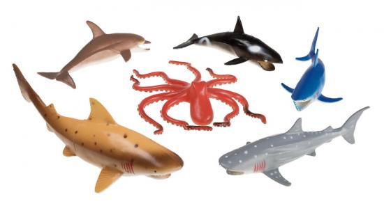 Meerestiere Spielfiguren/groß, 6 Stück, ca. 15 cm, im Beutel