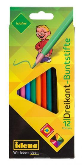 Dreikant-Buntstifte, 12 Farben, holzfrei, ergonomische Form