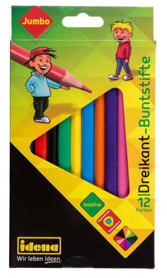 """Dreikant-Buntstifte """"Jumbo"""", 12 Farben, holzfrei, ergonomische Form"""